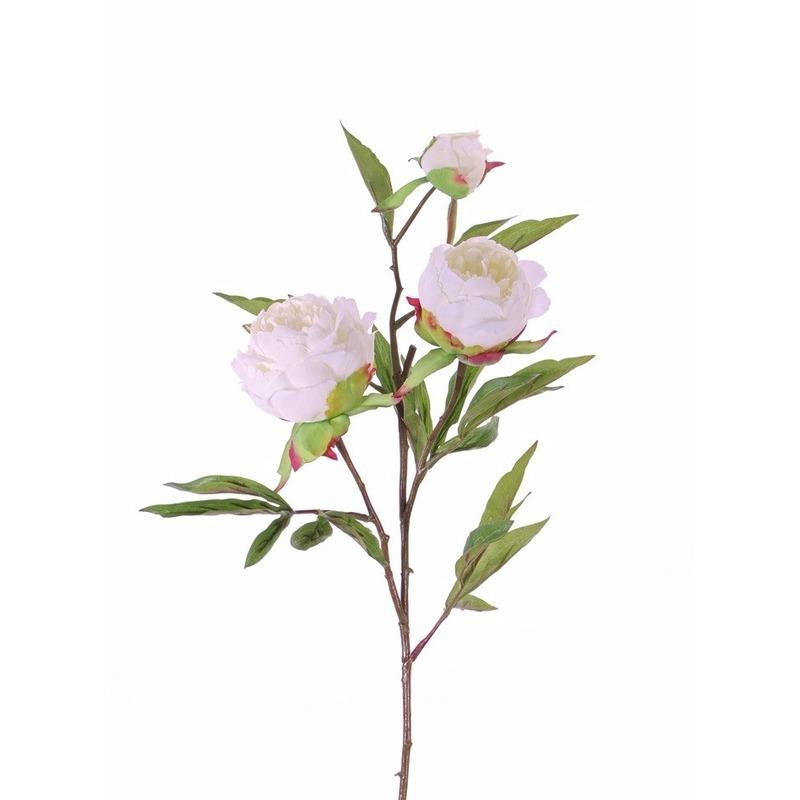 Kunstbloemen pioenrozen takken wit 73 cm