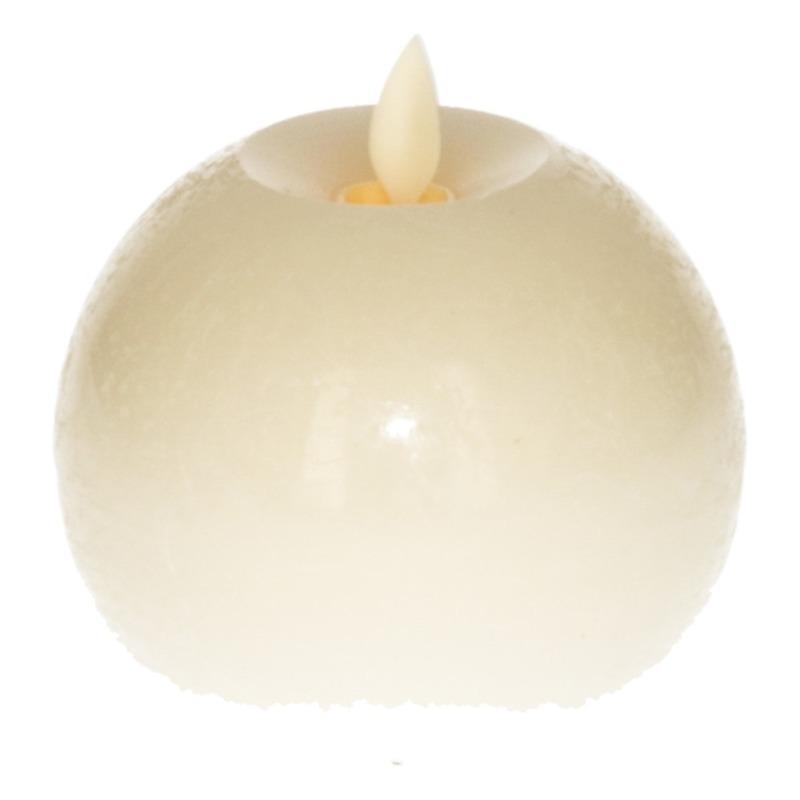 LED kaars-bolkaars wit Flame 8 cm met flakkerende vlam