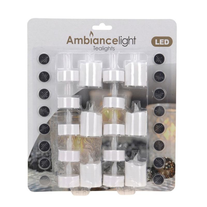 LED theelichten-waxinelichten wit 16 stuks
