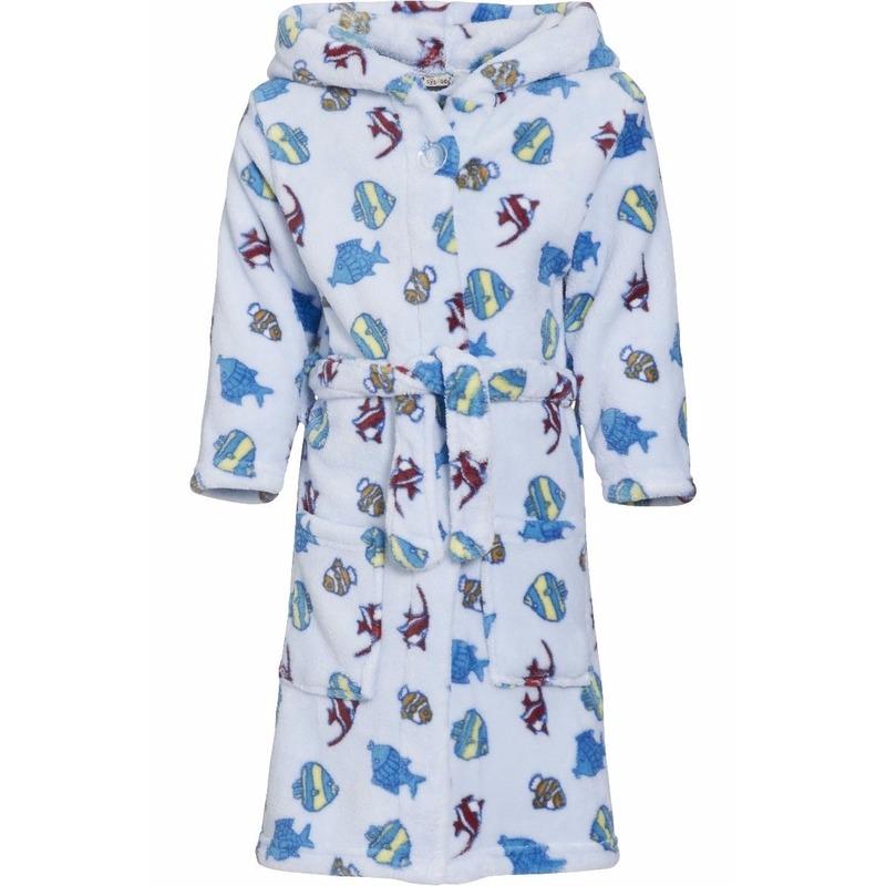 Lichtblauwe badjas-ochtendjas met vissen print voor kinderen.