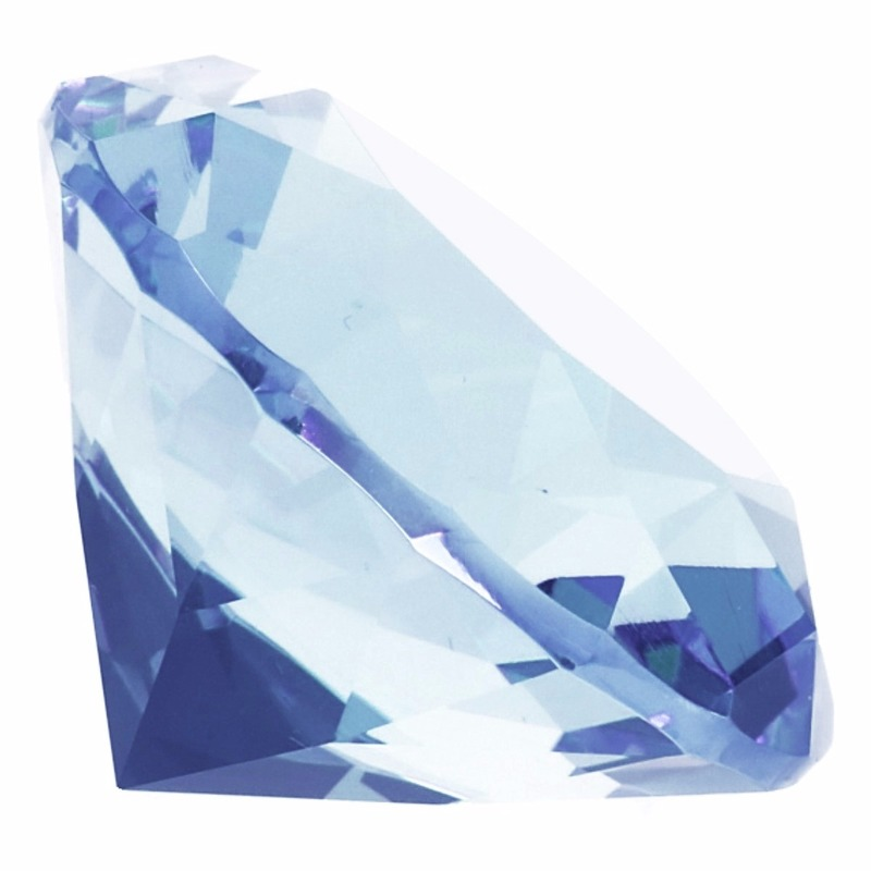 Lichtblauwe nep diamant 5 cm van glas