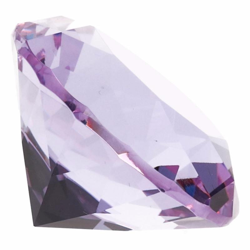 Lila paarse nep diamant 5 cm van glas