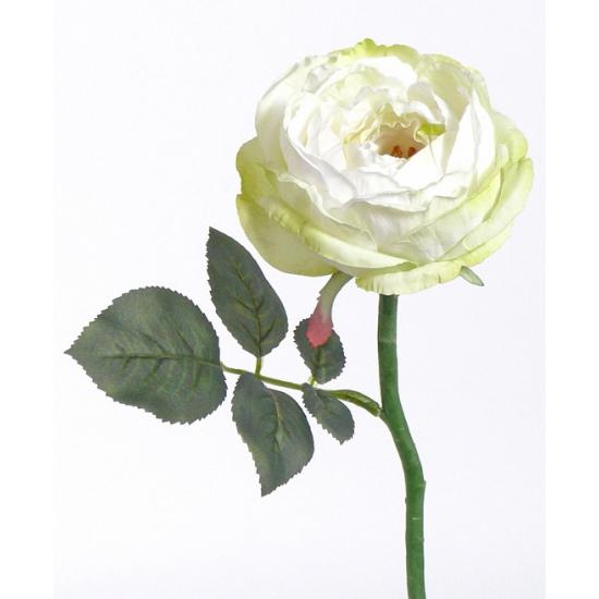 Luxe kunstbloemen roos-rozen Luna wit 33 cm