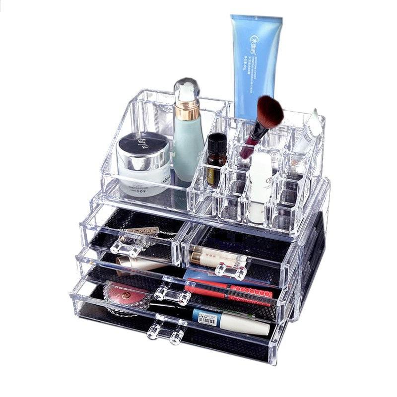 Make-up organizer-opberger-houder transparant met afneembare lades 24 cm