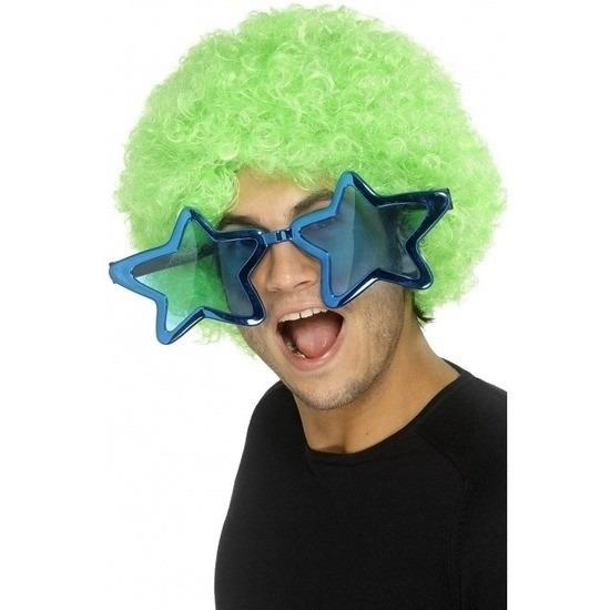 Mega blauwe sterren verkleed bril 30 cm voor volwassenen