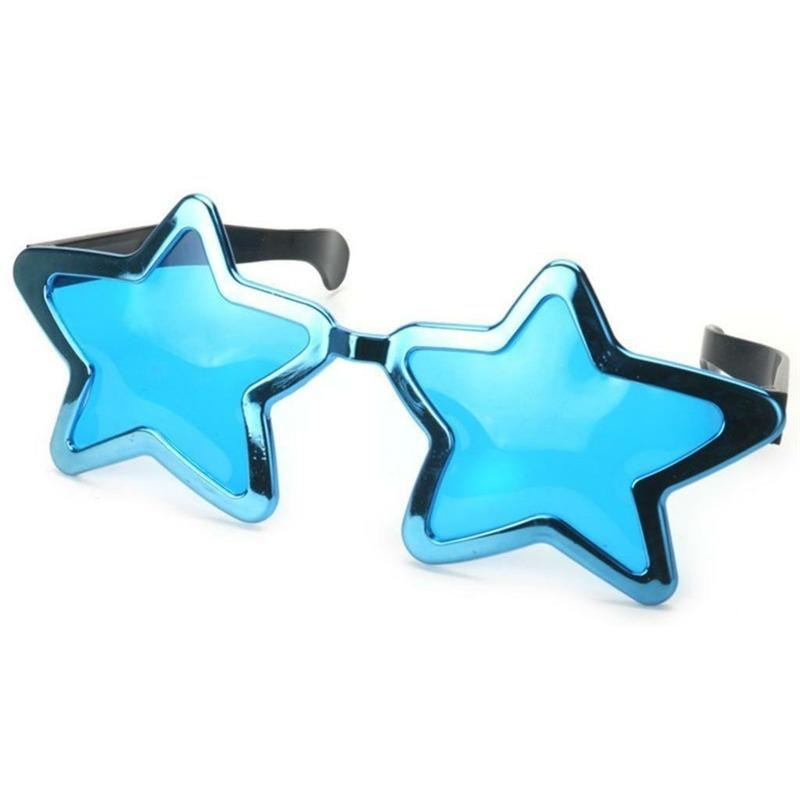 Mega turquoise sterren verkleed bril 30 cm voor volwassenen