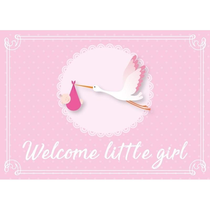 Meisje geboren ansichtkaart-wenskaart ooievaar kraamcadeau