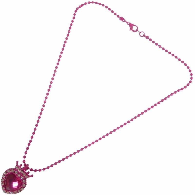 Meisjes ketting met roze hart. ketting voor meisjes met een roze hart hanger en zilveren strass steentjes. de ...