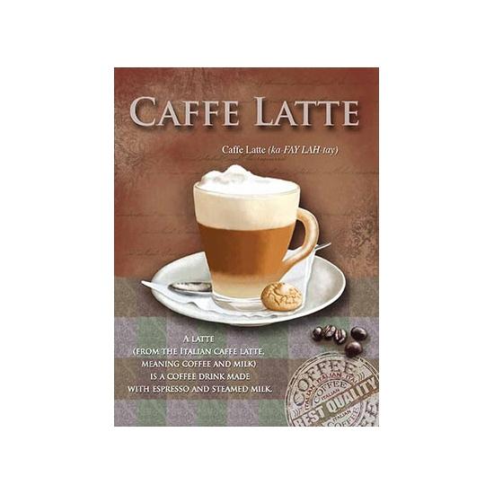 Metalen muurplaat caffe latte 15 x 20 cm. mini decoratie plaat voor aan de muur met de tekst caffe latte en ...