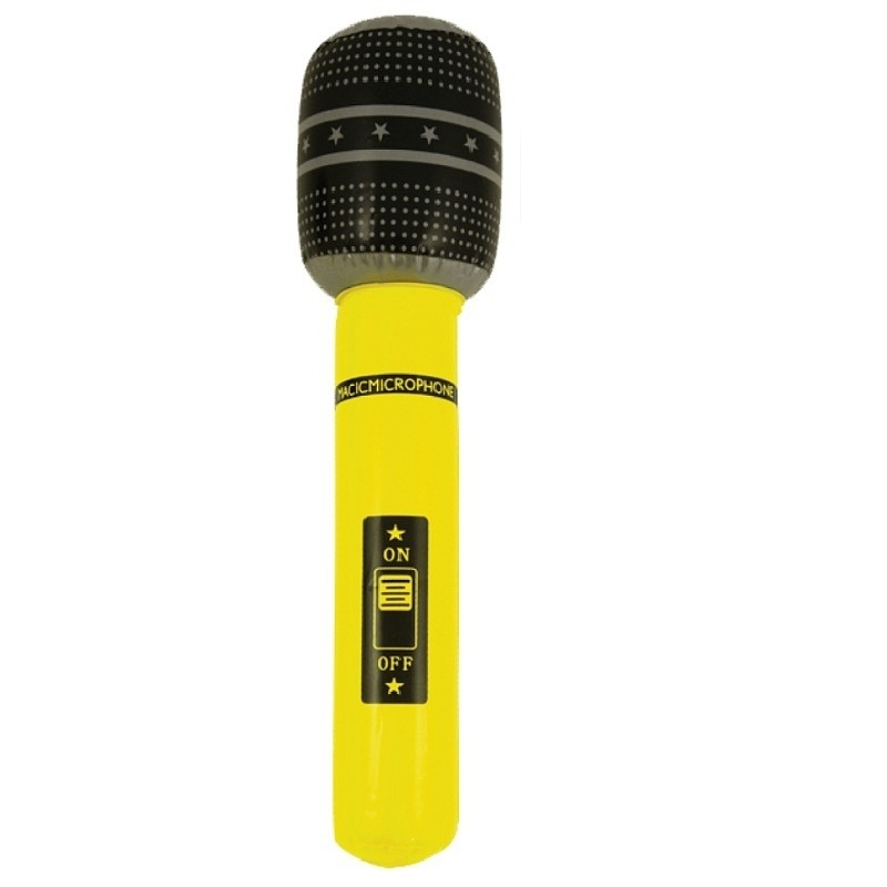 Neon gele opblaasbare microfoon 40 cm