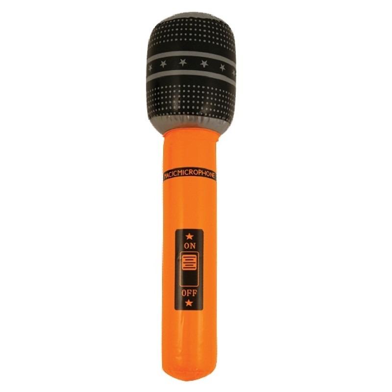 Neon oranje opblaasbare microfoon 40 cm