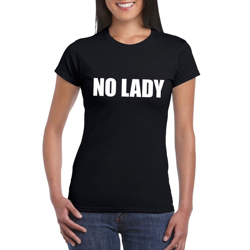 No Lady tekst t-shirt zwart dames