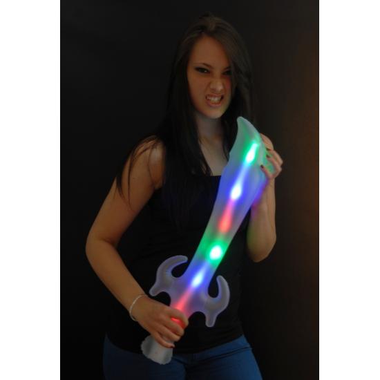 Opblaasbaar piraten verkleed-speelgoed zwaard met LED licht 65cm