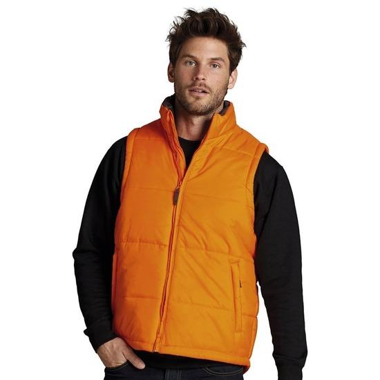 Oranje bodywarmer voor heren