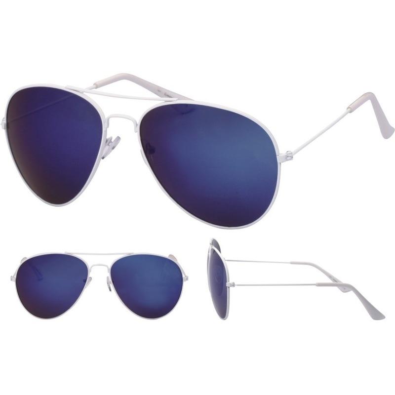Pilotenbril wit met blauwe glazen voor volwassenen