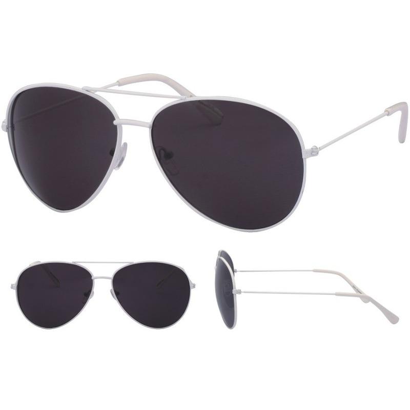 Pilotenbril wit met zwarte glazen voor volwassenen