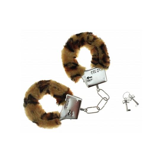 Pluche handboeien met luipaard print