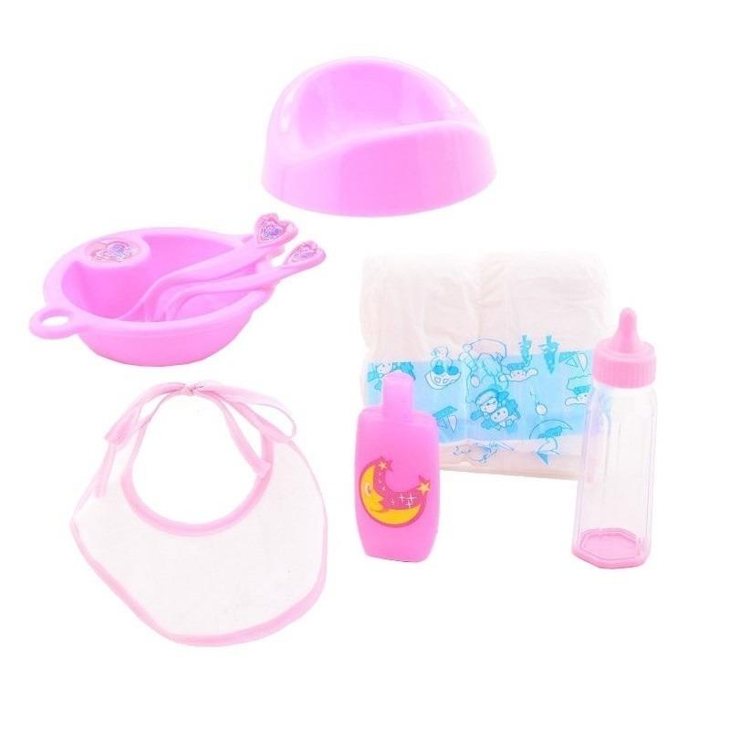 Poppen verzorging speelgoed set 8-delig voor meisjes