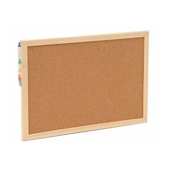 Prikbord-memobord van kurk inclusief punaises 30 x 45 cm