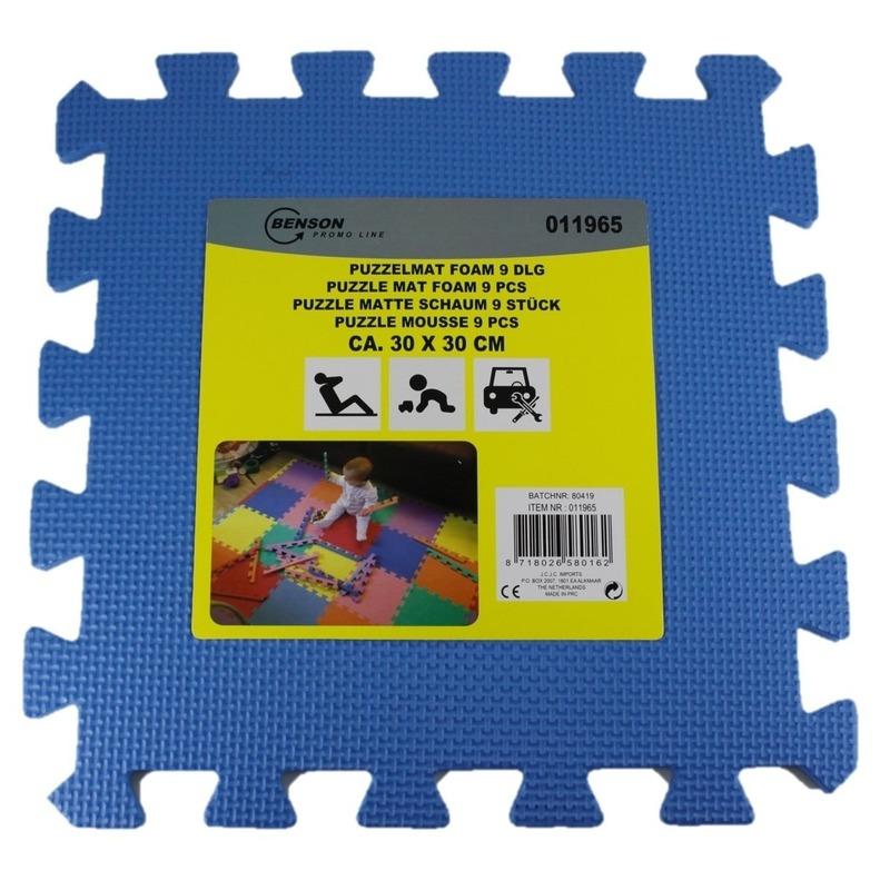 Puzzel speelmat foam tegels 30 x 30 cm blauw 9 stuks