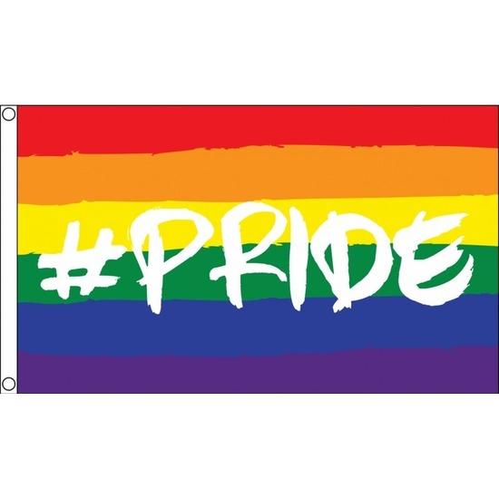 Regenboog LGBT vlag 90 x 150 cm hashtag pride