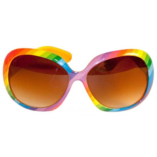 991ca16f23bff8 Regenboog zonnebril. zonnebril in regenboog kleuren met bruine glazen.  geschikt voor volwassenen.