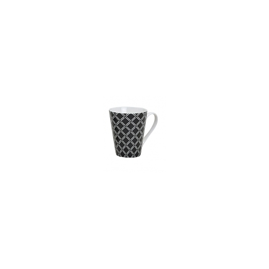 Retro koffie mok ruitjes zwart 250 ml