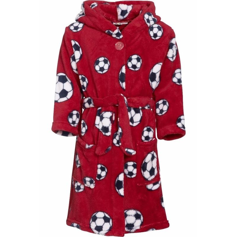 Rode badjas-ochtendjas met voetbal print voor kinderen.