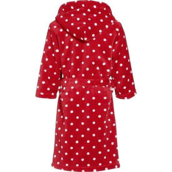 Rode badjas-ochtendjas met witte stippen print voor kinderen.