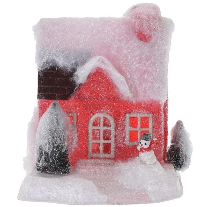 Rood kerstdorp huisje 18 cm type 1 met LED verlichting