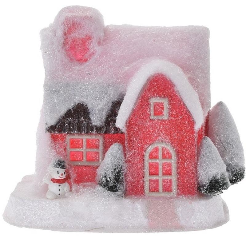 Rood kerstdorp huisje 18 cm type 3 met LED verlichting