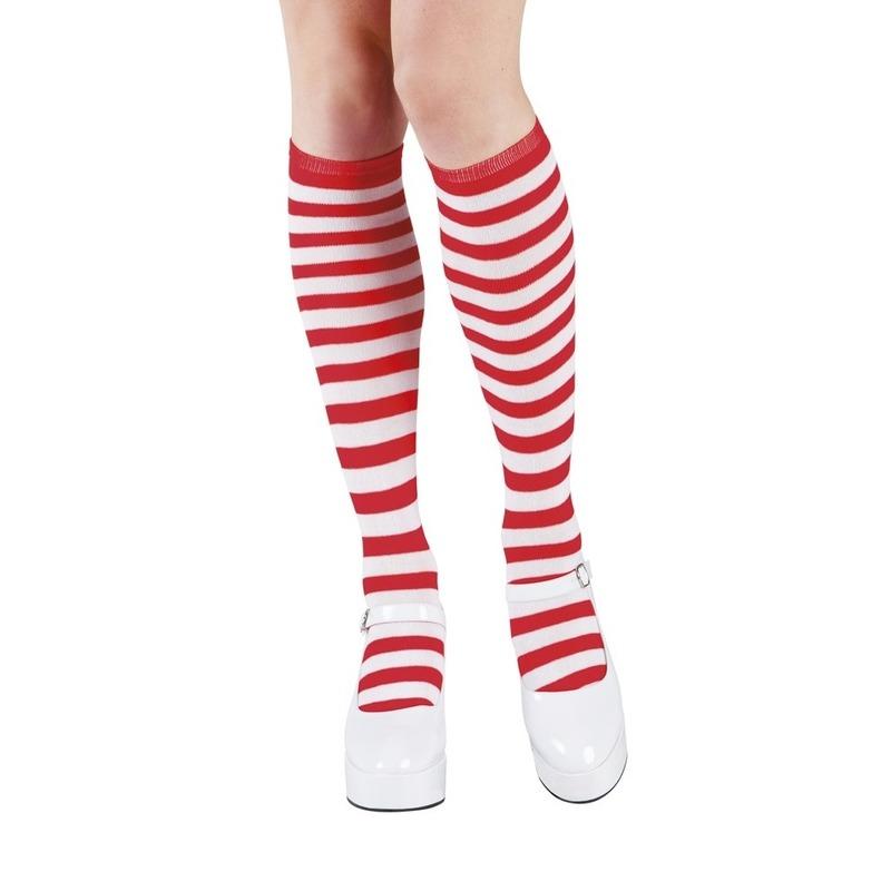 Rood-wit gestreepte kniekousen voor dames