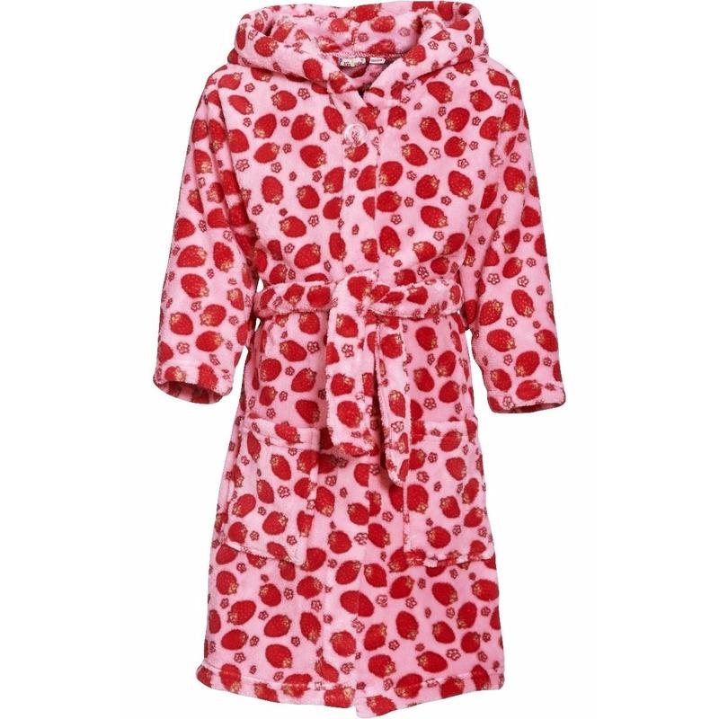 Roze badjas-ochtendjas met aardbeien print voor kinderen.