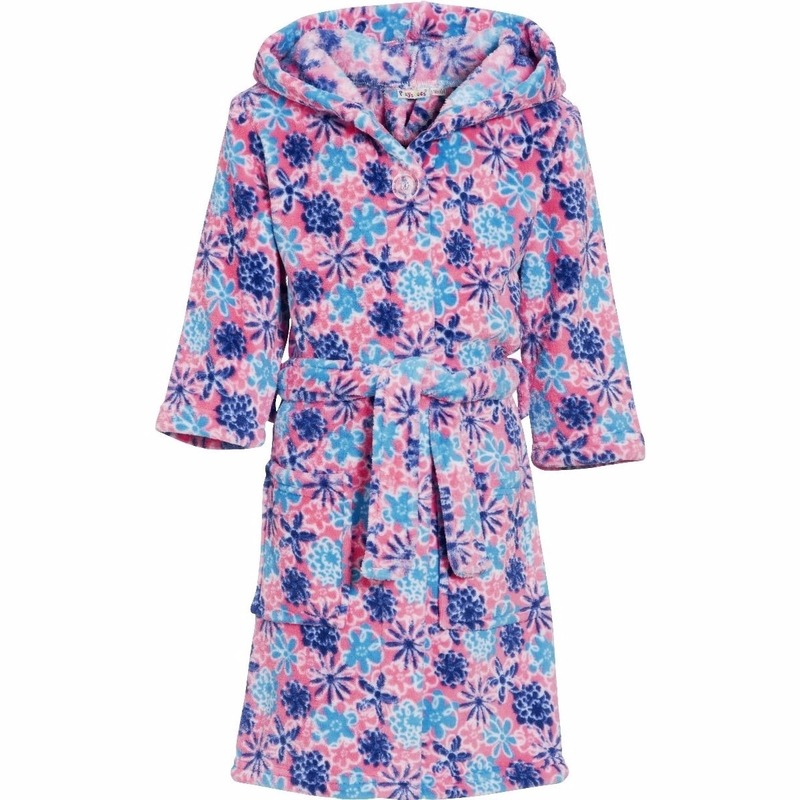 Roze badjas-ochtendjas met bloemen print voor kinderen.