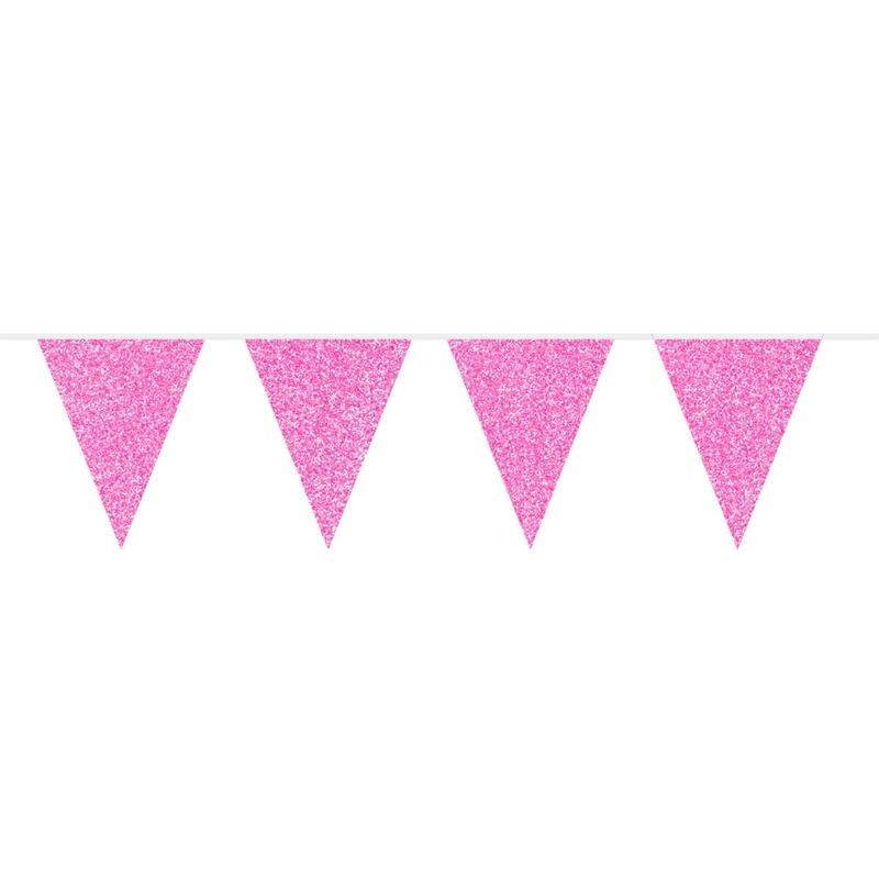 Roze glitter vlaggenlijn 6 meter