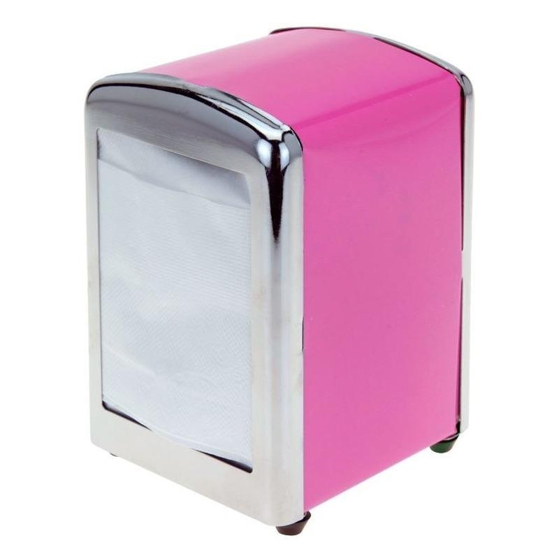 Roze servethouder- servetten dispenser 14 cm