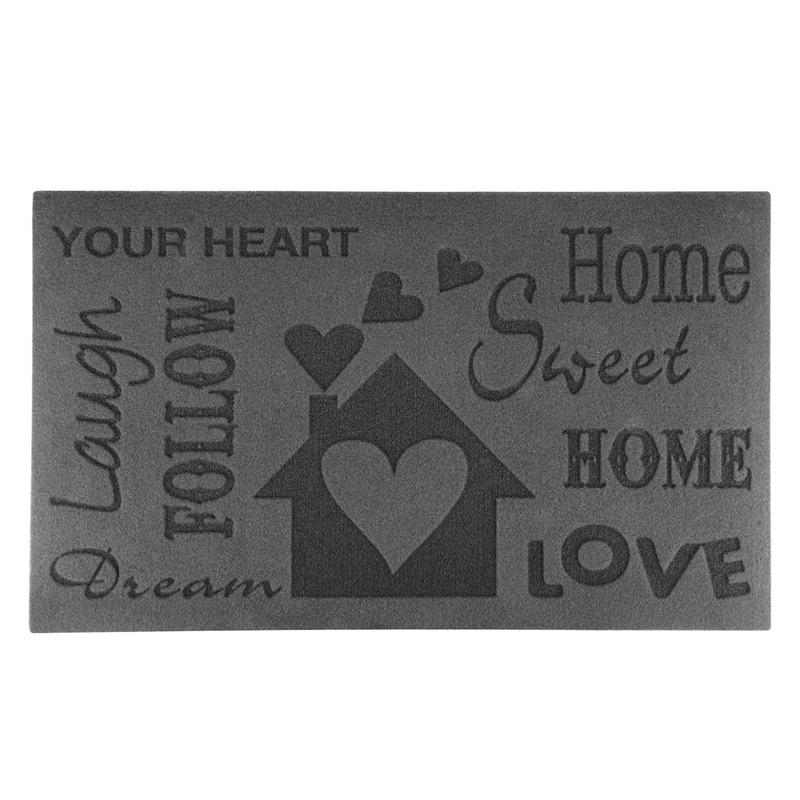 Rubberen deurmat relief Home 75 x 45 cm