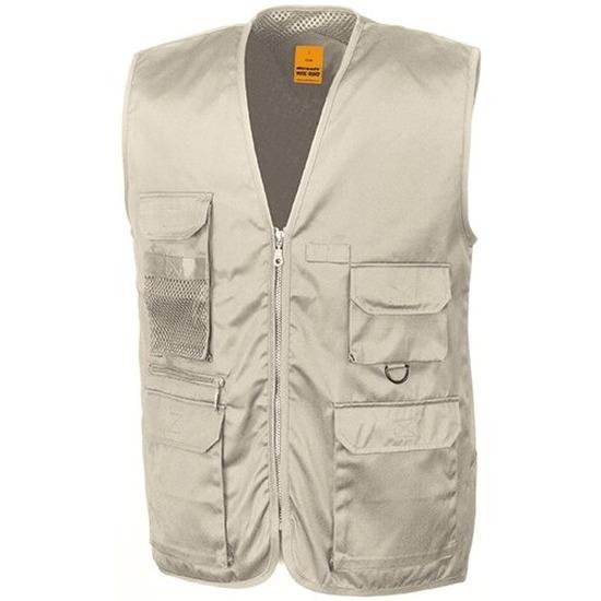 Safari-jungle verkleed bodywarmer-vest beige voor volwassenen