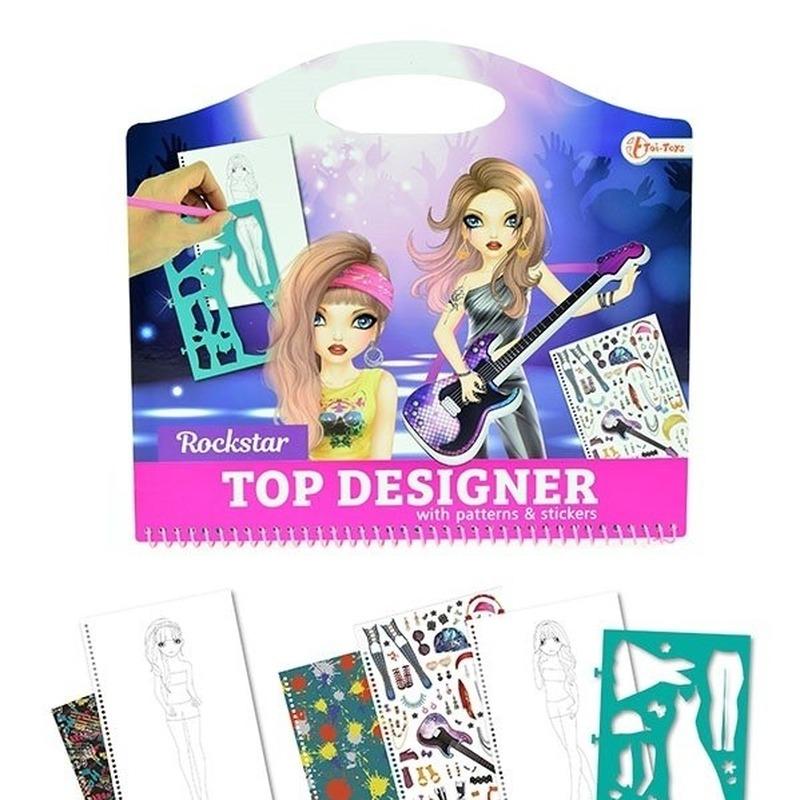 Schetsboek rockster kleding ontwerpen met stickers en sjablonen
