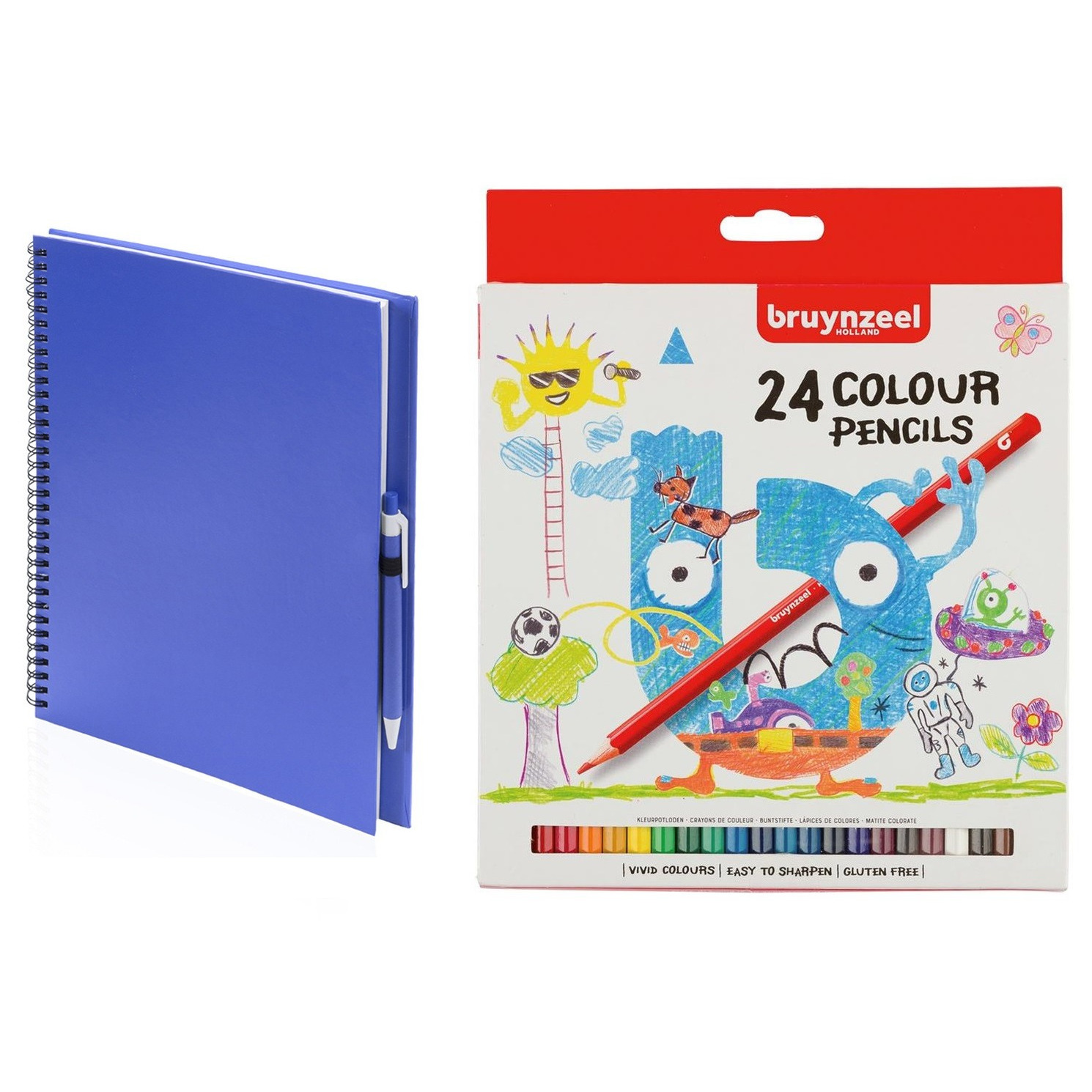 Schetsboek-tekenboek blauw met 24 kleurpotloden