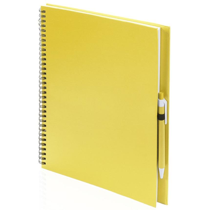 Schetsboek-tekenboek geel A4 formaat 80 vellen inclusief pen