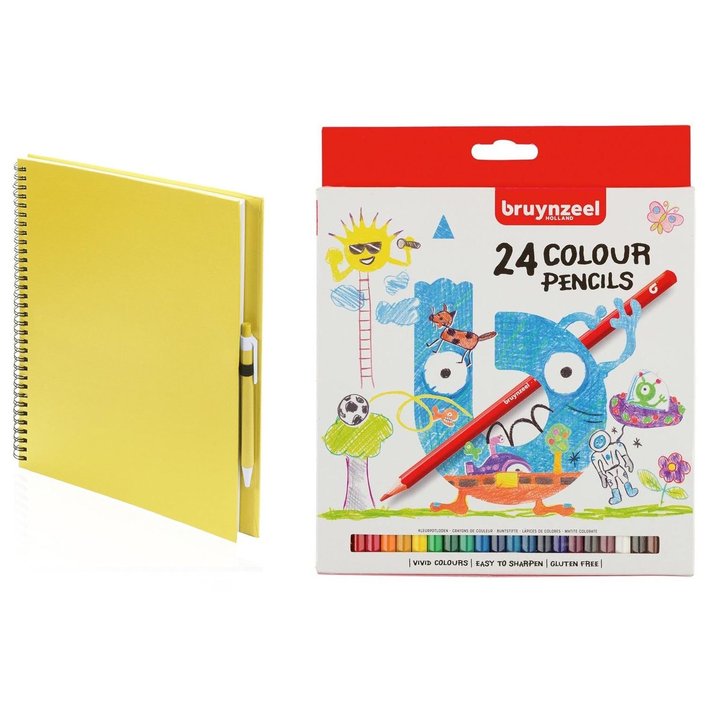 Schetsboek-tekenboek geel met 24 kleurpotloden