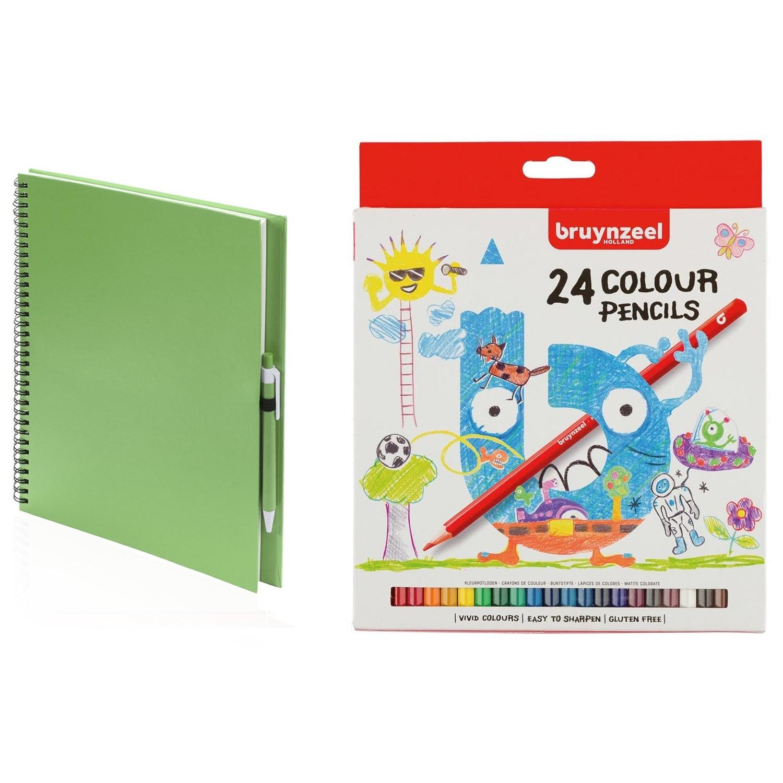 Schetsboek-tekenboek groen met 24 kleurpotloden