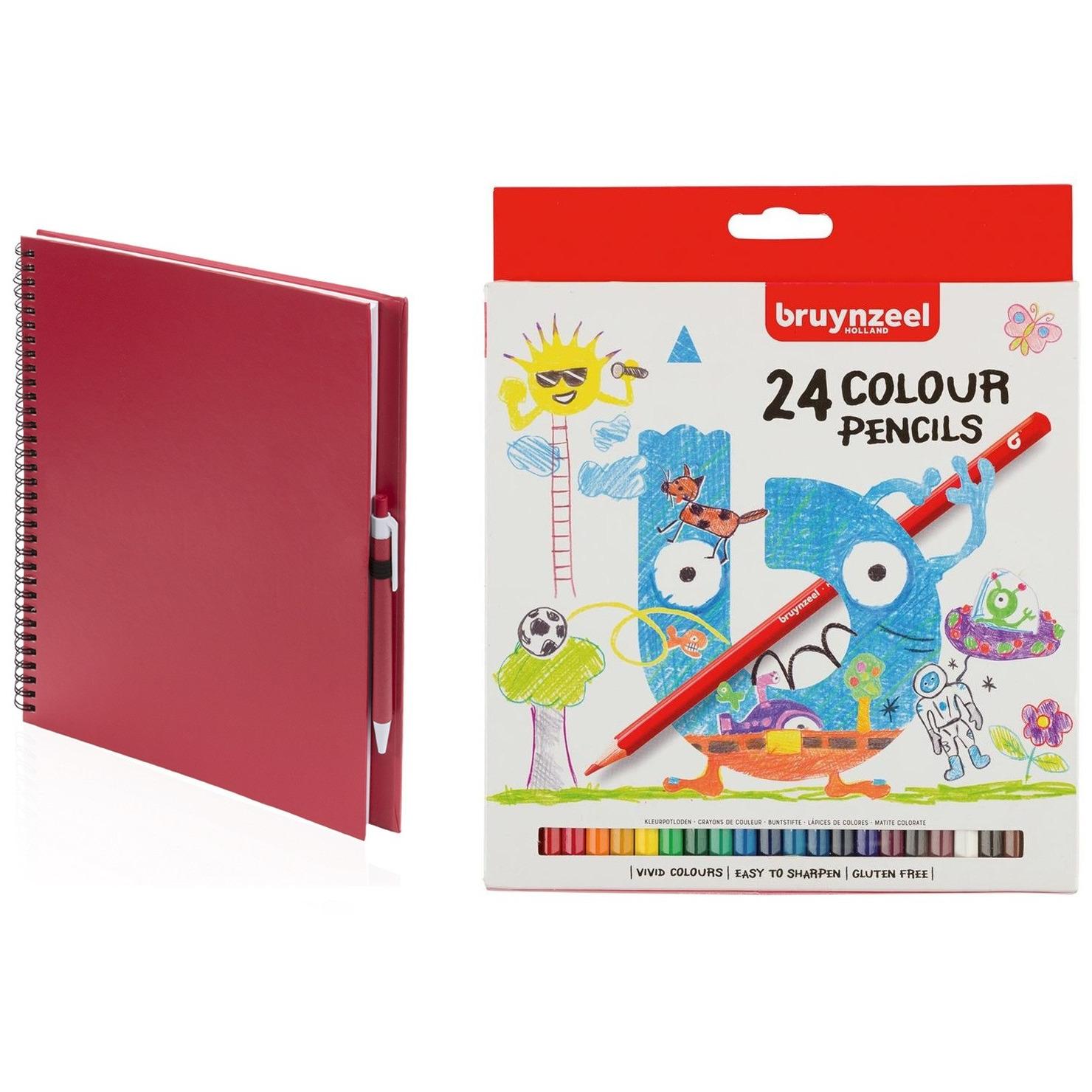 Schetsboek-tekenboek rood met 24 kleurpotloden