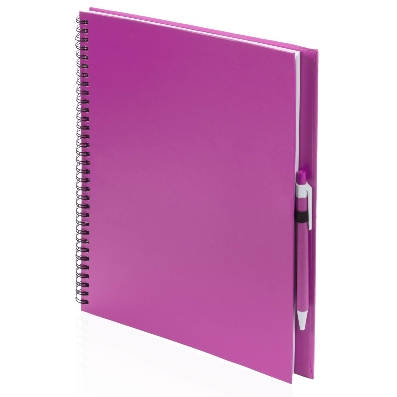 Schetsboek-tekenboek roze A4 formaat 80 vellen inclusief pen