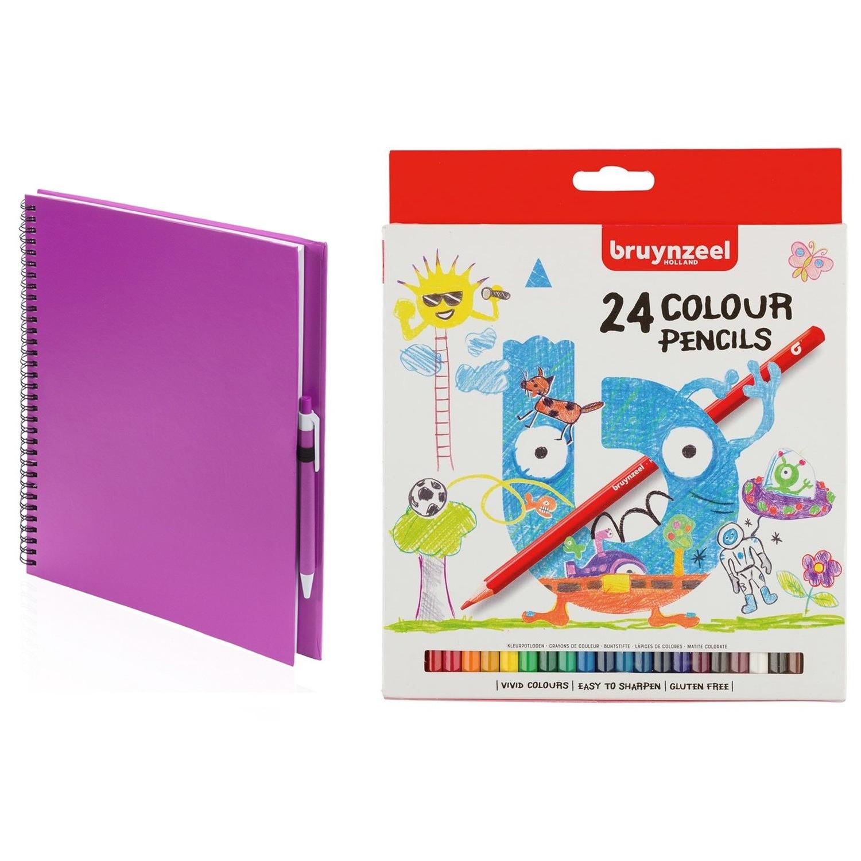 Schetsboek-tekenboek roze met 24 kleurpotloden