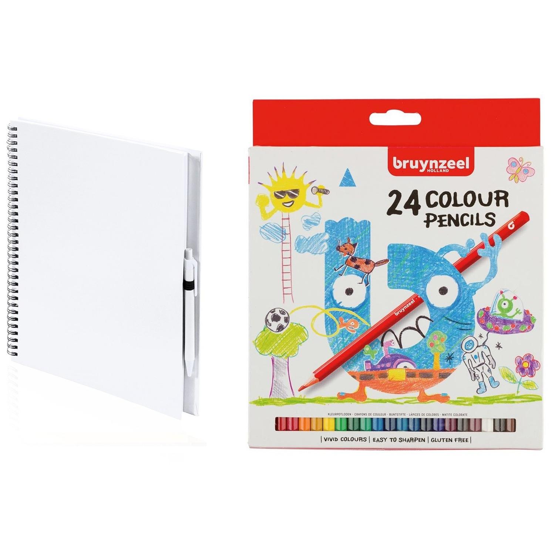 Schetsboek-tekenboek wit met 24 kleurpotloden