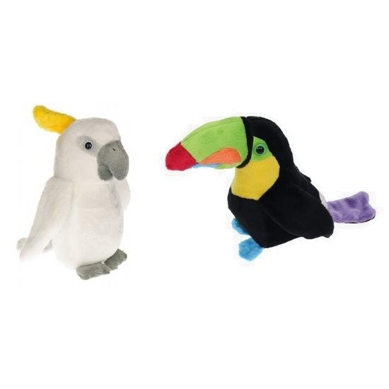 Set van 2 tropische vogel knuffels speelgoed