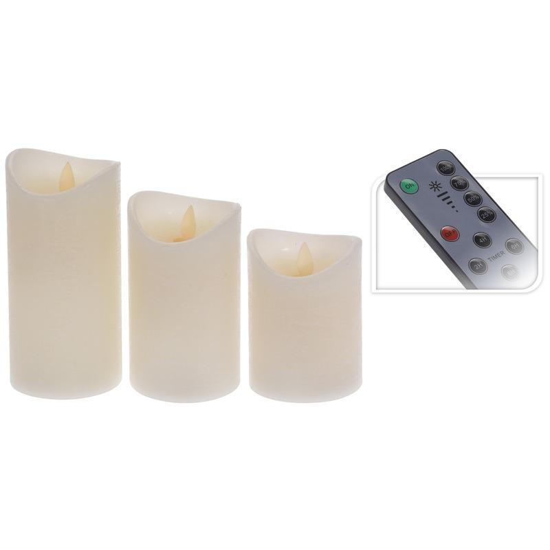 Set van 3 led ivoor stompkaarsen met afstandsbediening