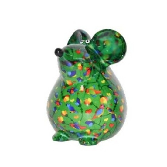 Spaarpot muis 17 cm groen vogels